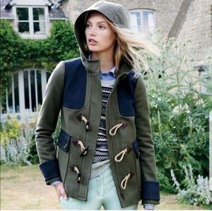 J. CREW Wool Color Block Duffle Pea Coat
